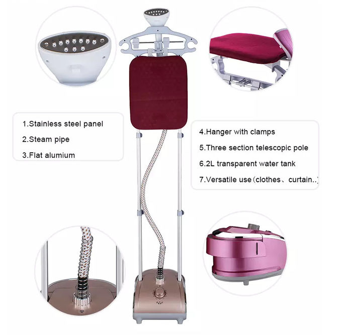 Big Water Tank Standing Clothes Steamer , Easy Home Steamer With Ironing Board